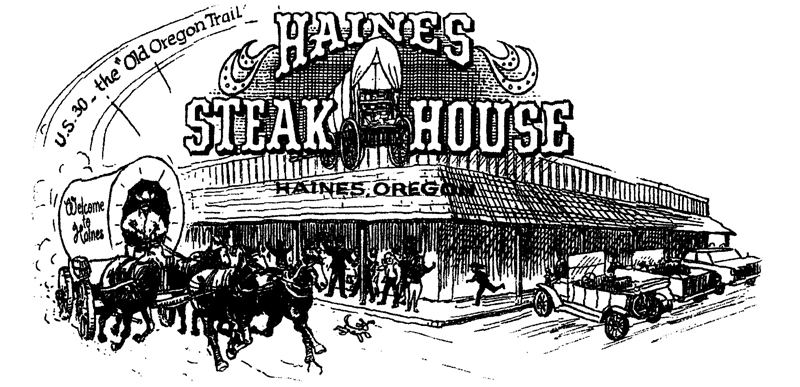 Haines Steak House Old-West illustration, featuring four horse drawn wagon.
